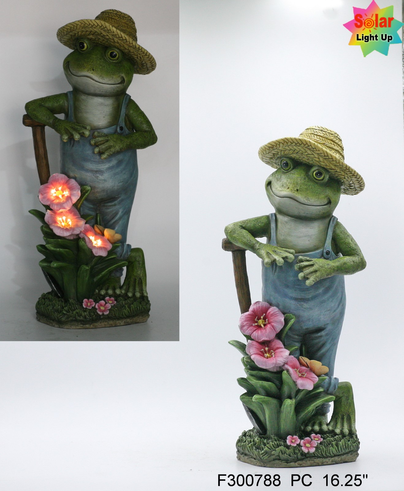 Resin a standing frog with pink flower with solar light